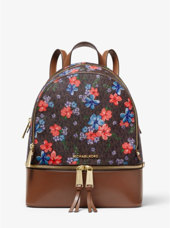Rhea Medium Floral-Printed Logo and Leather Backpack
