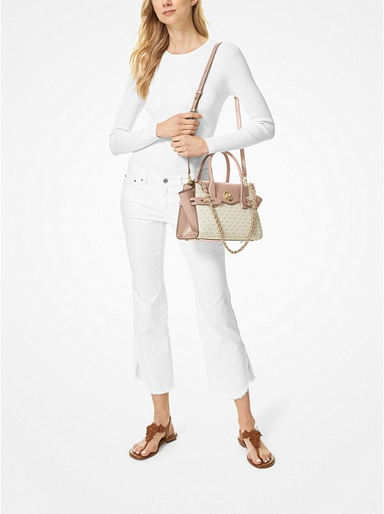Carmen Small Logo and Leather Belted Satchel