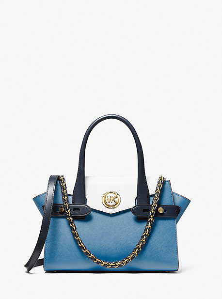 Carmen Small Color-Block Saffiano Leather Belted Satchel