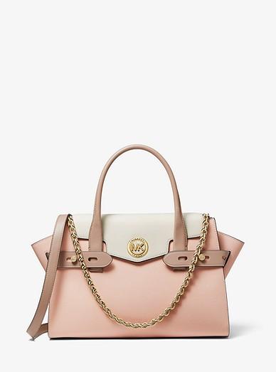 Grand sac porté main Carmen en cuir saffiano à couleurs contrastées et  ceinture