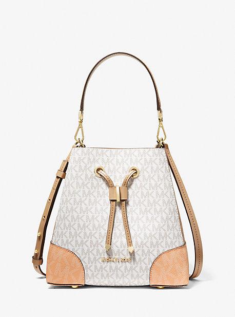 마이클 마이클 코어스 Michael Michael Kors Mercer Gallery Small Color-Block Logo Shoulder Bag,CANTALOUPE MLT