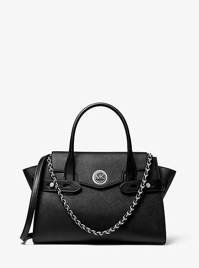 Grand sac porté main Carmen en cuir saffiano à ceinture