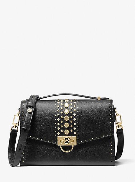 마이클 마이클 코어스 Michael Michael Kors Hendrix Medium Studded Leather Messenger Bag,BLACK