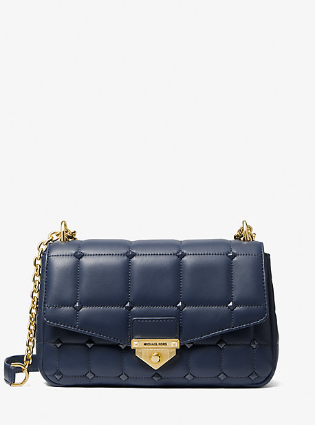 마이클 마이클 코어스 소호백 라지 Michael Michael Kors Soho Large Studded Quilted Leather Shoulder Bag,NAVY