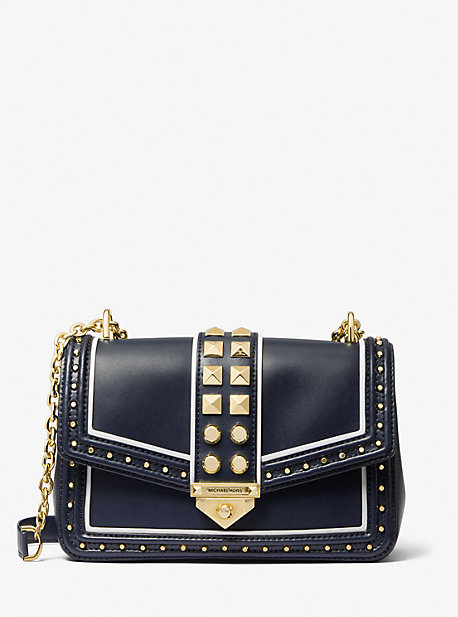 마이클 마이클 코어스 소호백 라지 Michael Michael Kors Soho Large Studded Leather Shoulder Bag,NAVY/WHITE