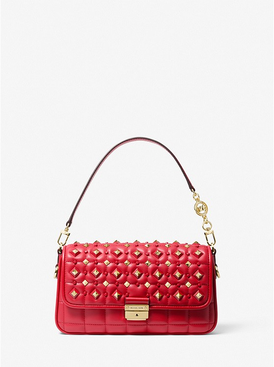 Bradshaw Small Studded Convertible Shoulder Bag BRIGHT RED