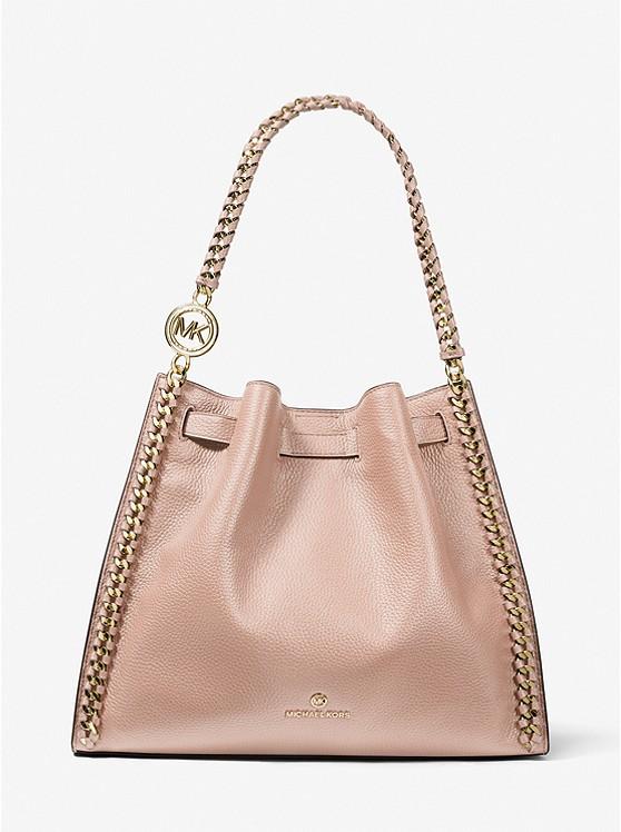 Mina Large Pebbled Leather Shoulder Bag SOFT PINK