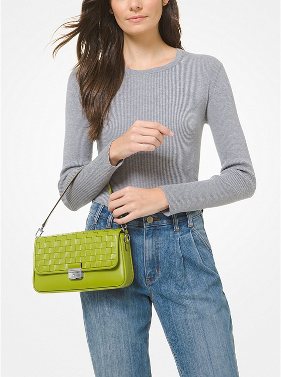 Bradshaw Small Woven Leather Shoulder Bag LIME