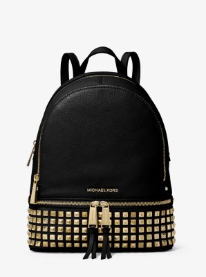 rhea medium studded leather backpack michael kors rh michaelkors com