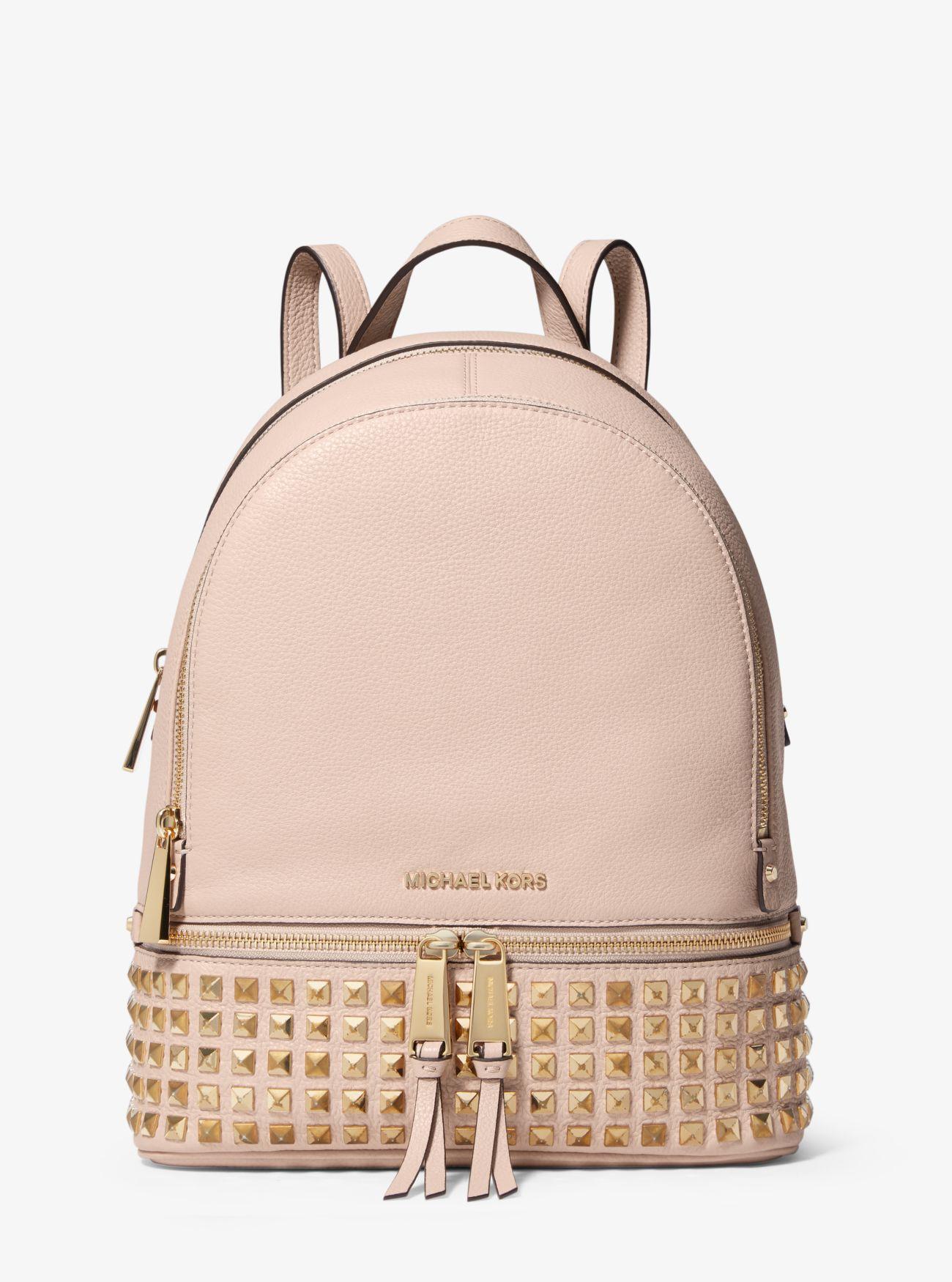 l'atteggiamento migliore 6ae52 9fe37 Rhea Medium Studded Pebbled Leather Backpack   Michael Kors