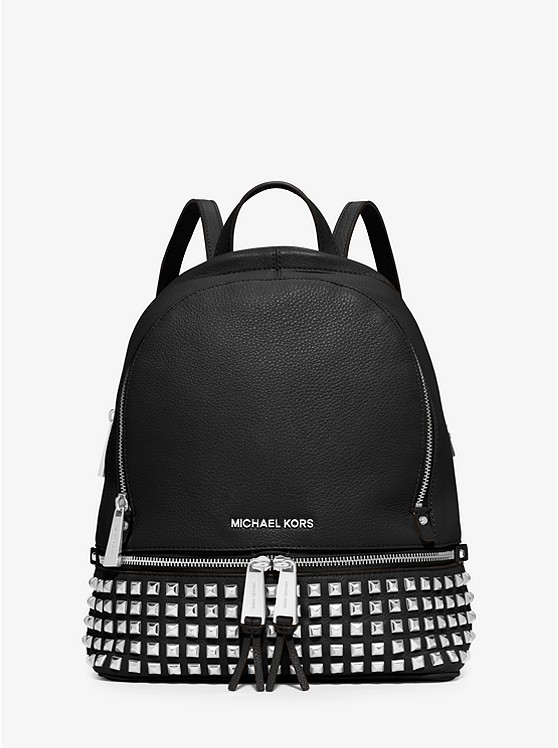 db5dc2fccb4c Rhea Medium Studded Pebbled Leather Backpack | Michael Kors