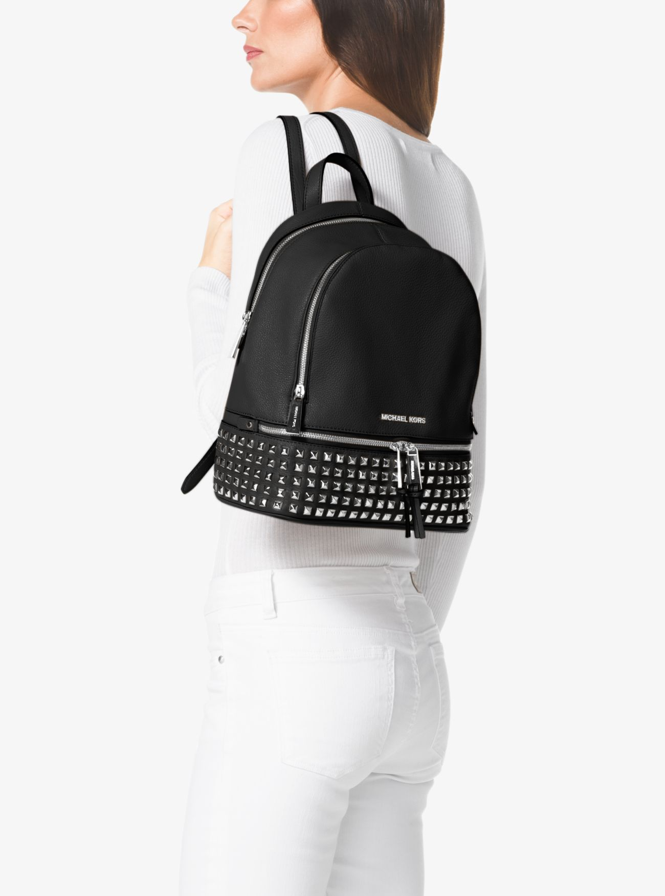 d33724820bb7 ... Rhea Medium Studded Pebbled Leather Backpack. MICHAEL Michael Kors