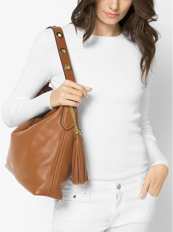 Brooklyn Large Leather Shoulder Bag LUGGAGE