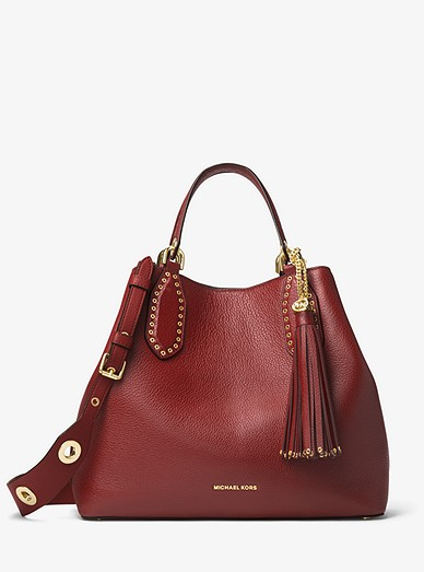 Brooklyn Large Leather Satchel Michael Kors