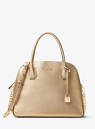 6d00d3703297 Mercer Large Metallic Leather Dome Satchel · michael kors studio ...