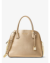 Mercer Large Metallic Leather Dome Satchel