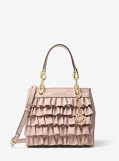 Cynthia Small Ruffled Leather Satchel Michael Kors