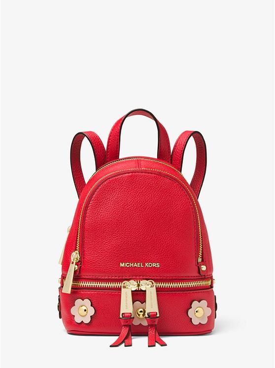 Rhea Mini Floral Appliqué Leather Backpack