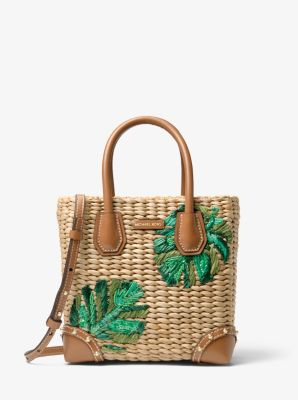 Malibu Palm Embroidered Woven Straw Crossbody Bag