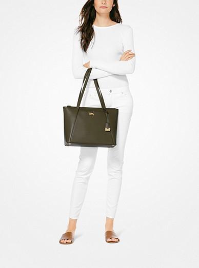 5a78f753570477 Maddie Medium Crossgrain Leather Tote Bag. MICHAEL Michael Kors