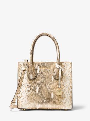 33a6c82771fb ... switzerland mercer metallic snake embossed leather crossbody michael  kors 85054 fdaea