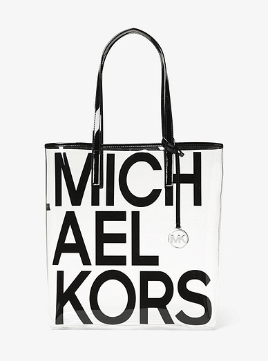 Large Graphic Logo Print Clear Tote Bag