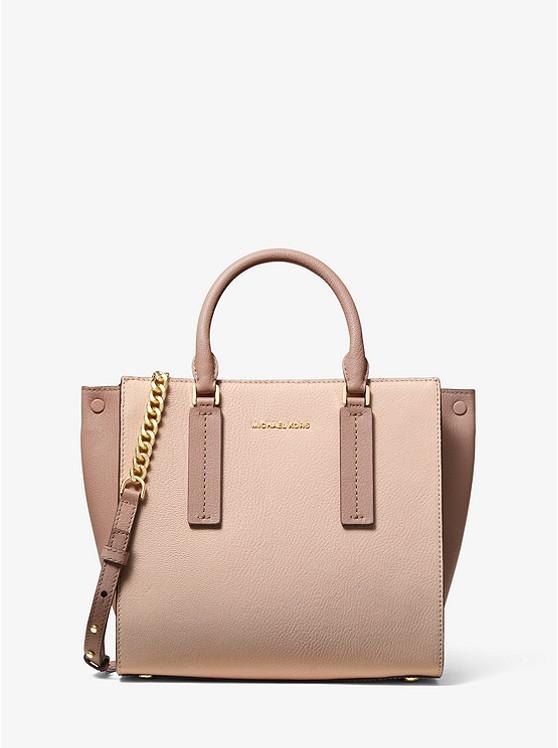 51de14b4c83b Alessa Medium Color-block Pebbled Leather Satchel | Michael Kors