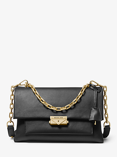 114d98bceb OPTIC WHITE. BLACK. Cece Large Leather Shoulder Bag. michael michael kors  ...