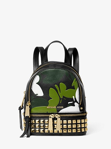 4de5d391c98f Rhea Mini Butterfly Camo Leather Backpack | Michael Kors