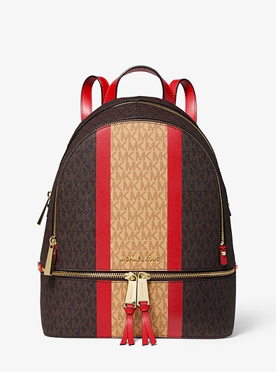 d4dd4031fac0 Rhea Medium Striped Logo And Leather Backpack | Michael Kors