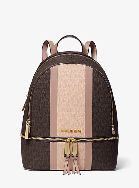 2a98a4a807a0 Rhea Medium Striped Logo and Leather Backpack. michael michael kors ...