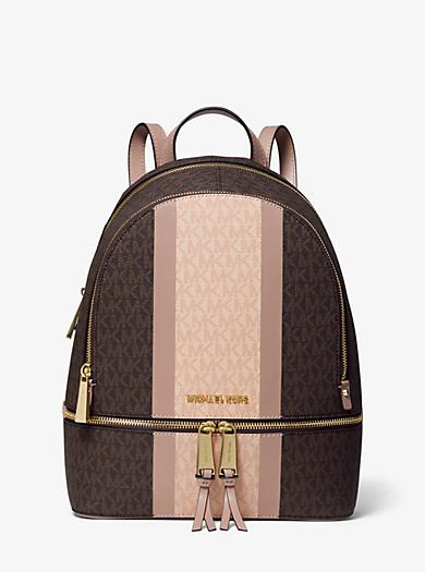 803c54eb5c85 Rhea Medium Striped Logo and Leather Backpack. michael michael kors ...
