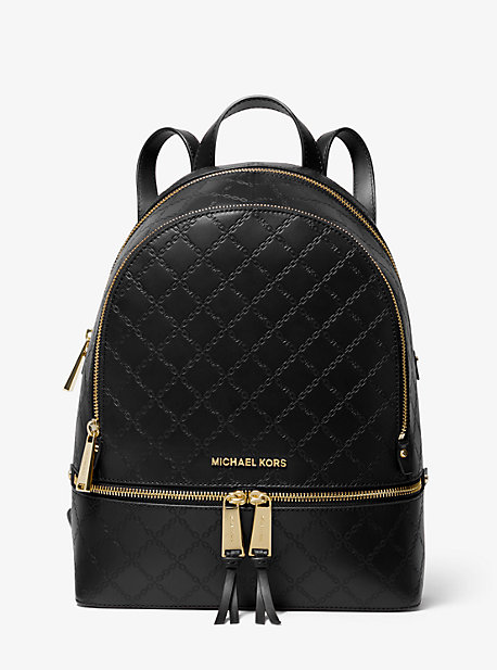 d4299e8fe9fa Rhea Medium Chain-Embossed Leather Backpack. MICHAEL Michael Kors  Rhea  Medium ...