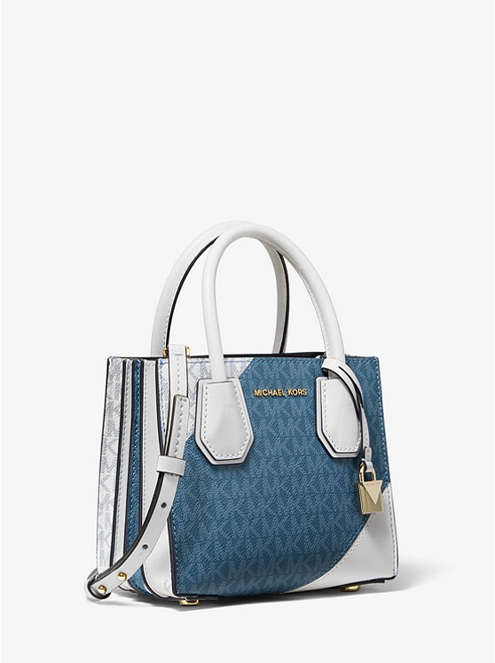 Mercer Two Tone Logo And Leather Accordion Crossbody Bag by Michael Michael Kors