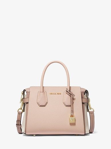 4b28ed8b529e Mercer Small Tri-color Pebbled Leather Belted Satchel | Michael Kors
