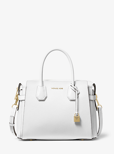 ef0c4fa1a887 Mercer Medium Pebbled Leather Belted Satchel · michael michael kors ...