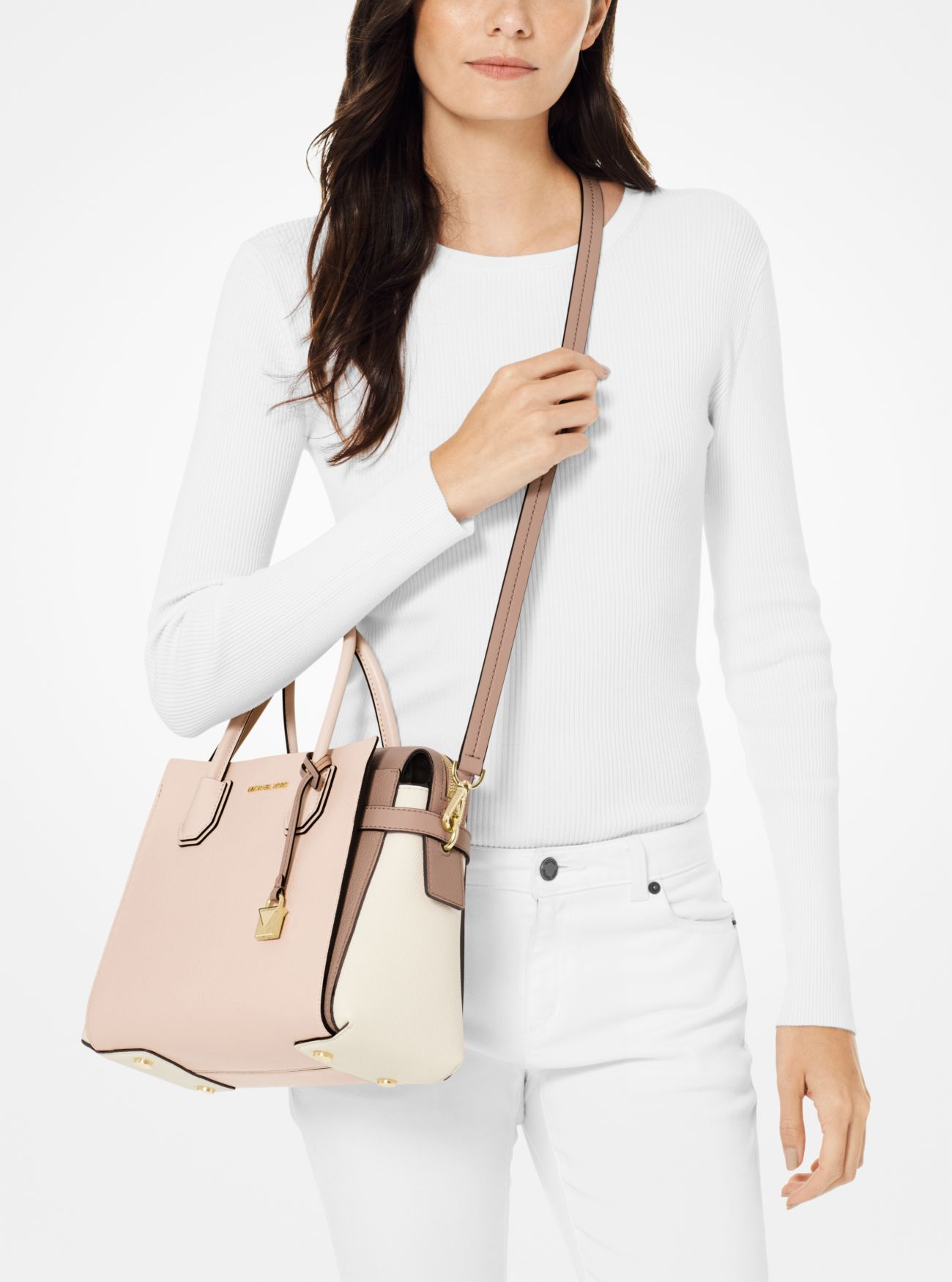 bc9456c1 ... Mercer Medium Tri-Color Pebbled Leather Belted Satchel Mercer Medium  Tri-Color Pebbled Leather Belted Satchel. MICHAEL Michael Kors