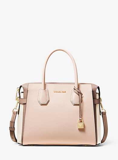 63f28876c929 Mercer Medium Tri-Color Pebbled Leather Belted Satchel. michael michael kors  ...
