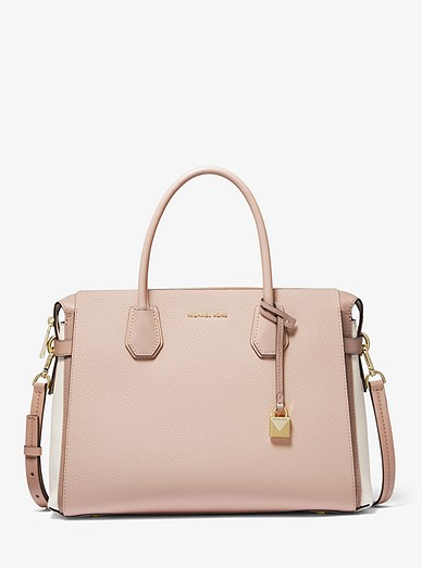 2405302b3902 Mercer Large Tri-color Pebbled Leather Belted Satchel | Michael Kors