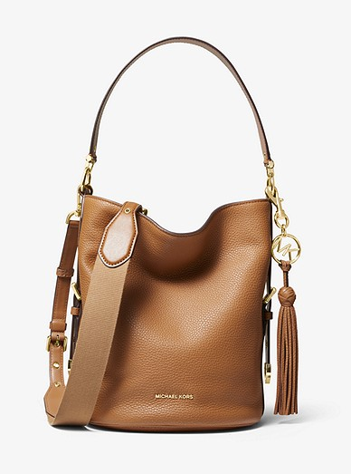 b77bd5713c79 Brooke Medium Pebbled Leather Bucket Bag | Michael Kors