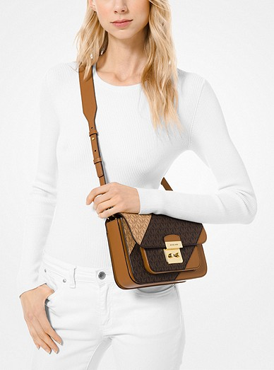 e046e10f6516ad Sloan Editor Two-tone Logo And Leather Shoulder Bag | Michael Kors