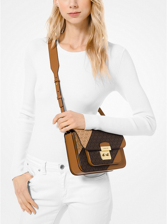 Sloan Editor Two Tone Logo and Leather Shoulder Bag