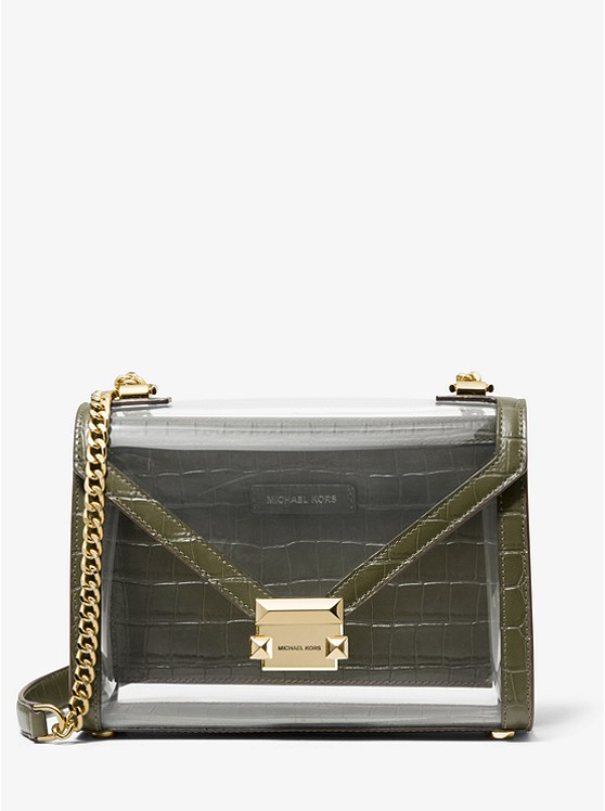2f8138d09c0b08 Whitney Large Clear And Leather Convertible Shoulder Bag | Michael Kors