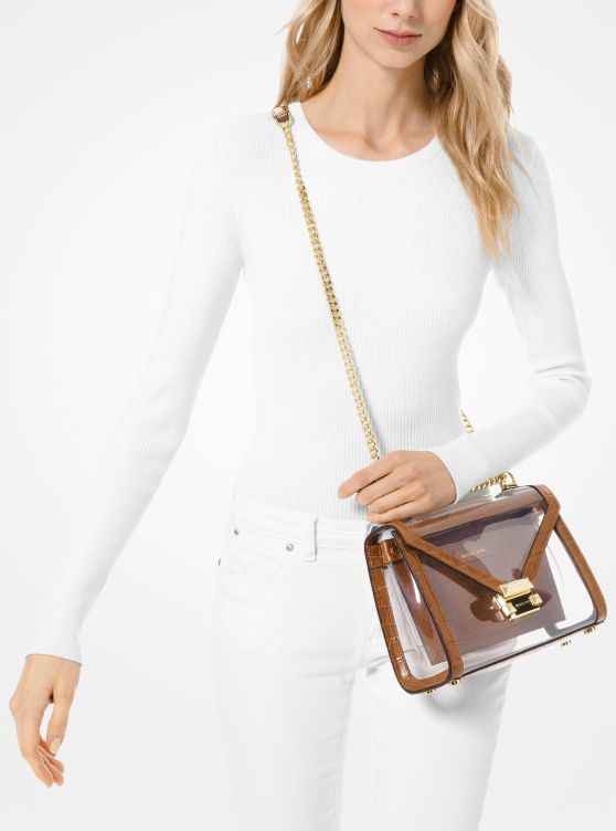 Whitney Large Clear and Leather Convertible Shoulder Bag