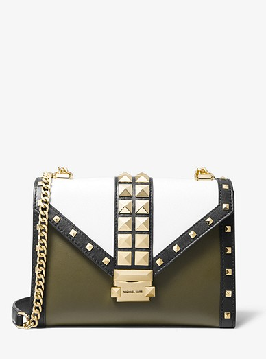 aa99a012150 Whitney Large Studded Tri-color Leather Convertible Shoulder Bag ...