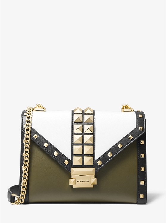 Whitney Large Studded Tri-Color Leather Convertible Shoulder Bag