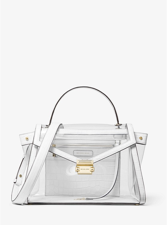 9cfe991dcc6e Whitney Large Clear And Leather Satchel | Michael Kors
