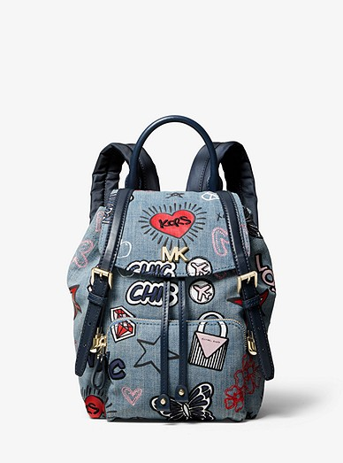 c5b51859eed7 Beacon Small Embroidered Denim Backpack | Michael Kors