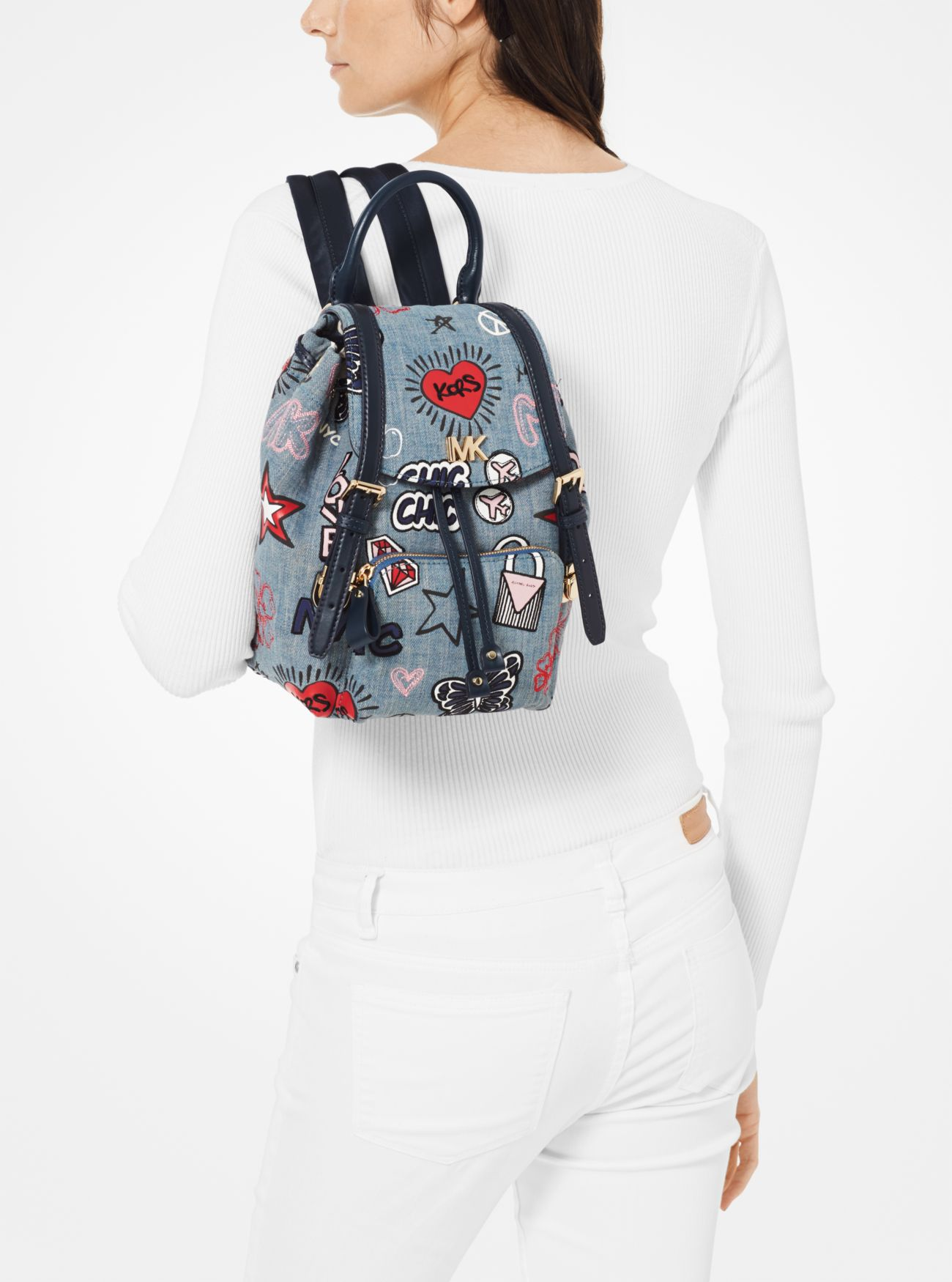 363513e1957c ... Beacon Small Embroidered Denim Backpack Beacon Small Embroidered Denim Backpack  Beacon Small Embroidered Denim Backpack. MICHAEL Michael Kors
