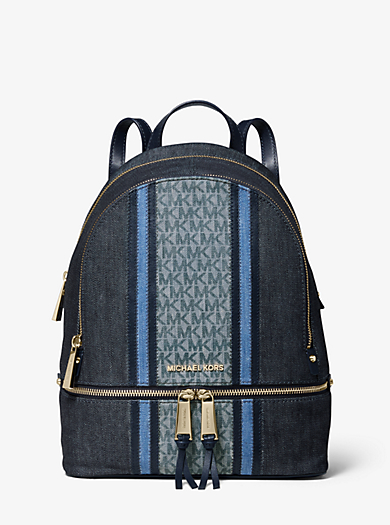 a8227a26969e Rhea Medium Denim Logo Backpack. michael michael kors ...